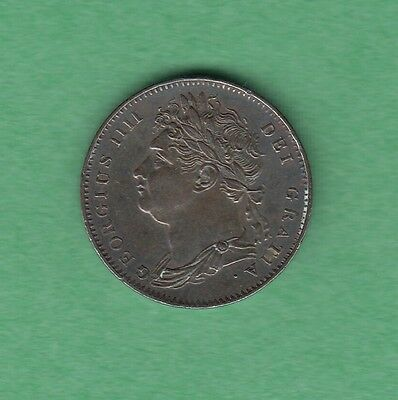 1822 Great Britain 1 Farthing Coin - George IV - AU/UNC - Beautiful Toning