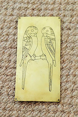 """A 6"""" TALL x 3"""" WIDE, TWO PERCHED BUDGIES FACING EACH OTHER-DESIGNED BRASS PLAQUE"""