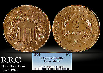 1864 Two Cent PCGS MS64 BN