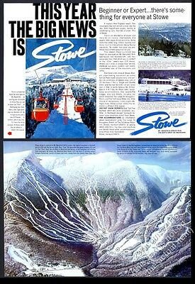 1968 Stowe Vermont Mt. Mansfield ski area mountain map vintage print ad