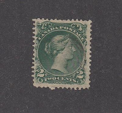 CANADA # 24 VF-2cts DEEP GREEN THIN PAPER FACE FREE CANCEL CAT VALUE $130