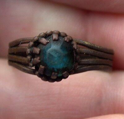 Beautiful Old Medieval Middle Ages Bronze Blue/Green Gemstone Ring Artifact
