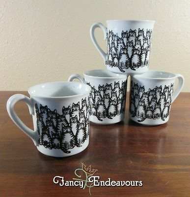 Set of FOUR Vintage Kliban Cat Many Klibans! Family Clan Coffee Mugs
