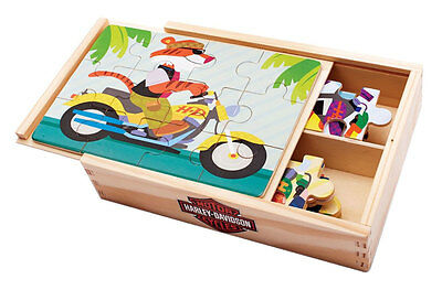 Harley-Davidson Kid's Wooden Puzzle Set, 4 Puzzles Set, 8 x 5.5 inches 20337