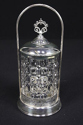 Silverplate Pickle Castor Caster Embossed Birds Clear Glass Insert Square Design