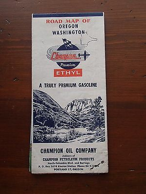 Vintage CHAMPION OIL Co. of Portland Oregon Gas Road Map