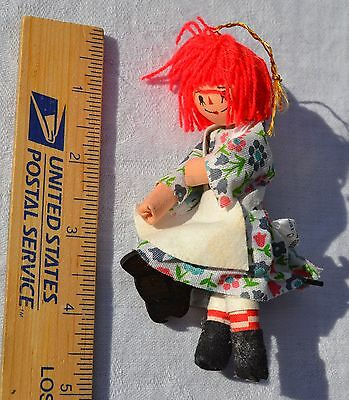 Raggedy Ann Ornament 1977 fabric & wood Bobbs Merrill