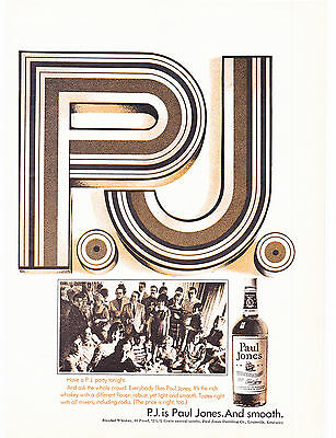 """Original Print Ad-1969 P.J. is Paul Jones and Smooth-Disco Letters """"PJ""""-Whiskey"""