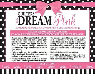 Quilt Batting Quilters Dream Pink Blend 80/20 Cotton Poly Blend King Size