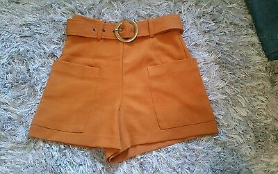 80s style brown orange high waisted shorts size S