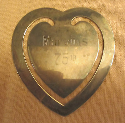 "3 1/4"" Heart Shaped Book Mark Silver Plate Engraved"