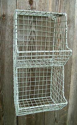 New Country Primitive General Store Metal Wall Basket Bin Shelf Organizer Cubby