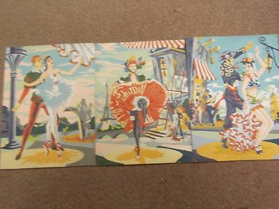 Vtg Paint By Number Finished Paintings Set of 3 Dancers Flamenco Can Can Ballet