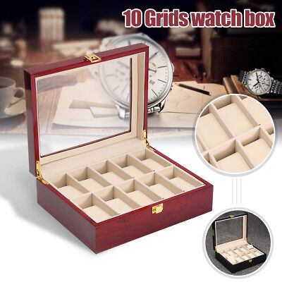 10 Grid Glass Wooden Watch Jewelry Display Case Collection Storage Holder Box AU
