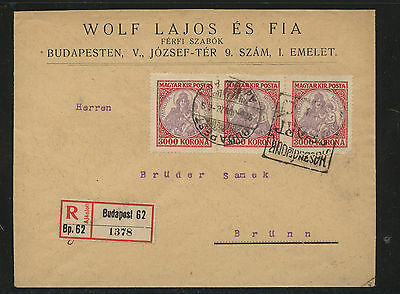 Hungary  385 strip of 2 on registered cover           AT0714
