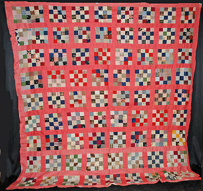 VINTAGE QUILT TOP 1900's PIECED HAND SEWN PATCHWORK 16 BLOCKS 93'' x 93''