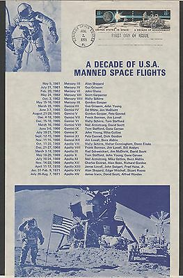 1971 U.S. First Day of Issue - Decade of USA Manned Space Flights - Kennedy