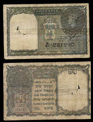 OLD c1940 1 RUPEES INDIA CURRENCY NOTE KING GEORGE VI