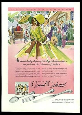 1942 Grand Colonial Wallace sterling silverware spoon fork knife print ad