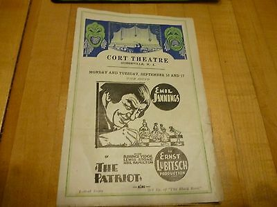 Emil Jannings  in Lubitsch production old brochure -Cort Theatre