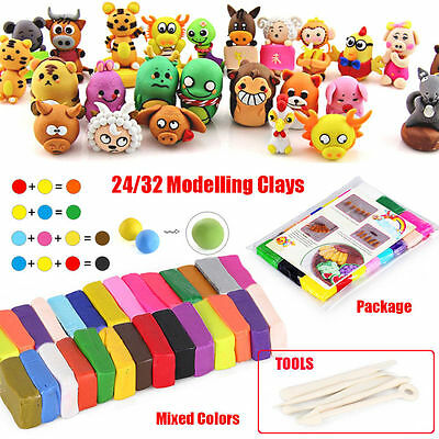 32 Colors Kids Fimo Modelling Clay Block Polymer Bake Moulds Molds Tools Kit Set