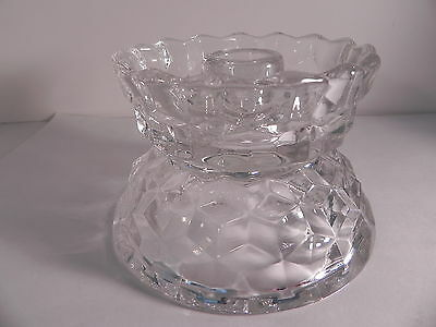 Fostoria American Glass Hurricane Candle Lamp base Mint Condition