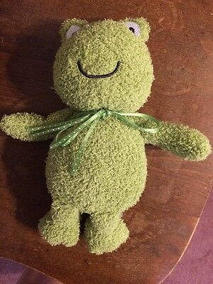Rare Carters Green Plush Frog Smiling Smile Baby Toy Stuffed Animal Lovey