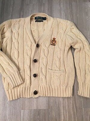 Polo by Ralph Lauren Boys Cable Knit Cardigan Sweater Size 7 Cream Color