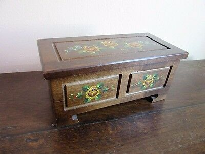 Vtg Reuge wood jewelry box. Hand painted yellow roses