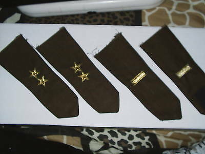Brown sweater epaulets with gold bullion embroidery rank.