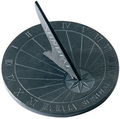 Sundial from slate 24,5 cm round black Country Style Antique Garden - NEW