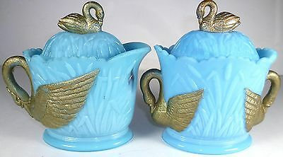 1905 Westmoreland Glass Antique Blue Swan Rushes Pattern Covered Creamer & Sugar