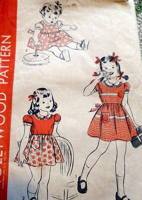 LOVELY VTG 1940s GIRLS DRESS HOLLYWOOD Sewing Pattern 1 NO INSTRUCTIONS