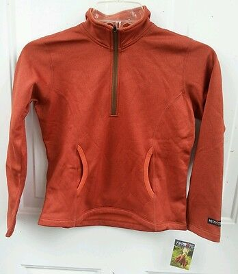 NWT KERRITS $69 Girls S Microfleece Heather Half Zip Technical Riding Top Ember