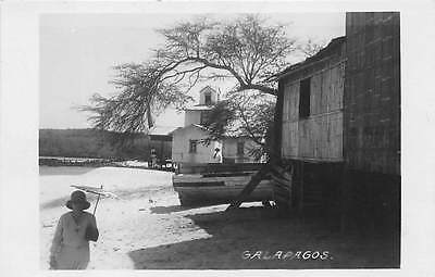 GALAPAGOS ISLANDS, ECUADOR ~ HOMES & BEACH SCENE, REAL PHOTO PC ~ c. 1930's
