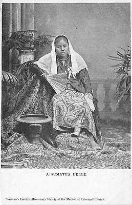SUMATRA, INDONESIA ~ NATIVE WOMAN IN FANCY DRESS, POSED IMAGE ~ c. 1902