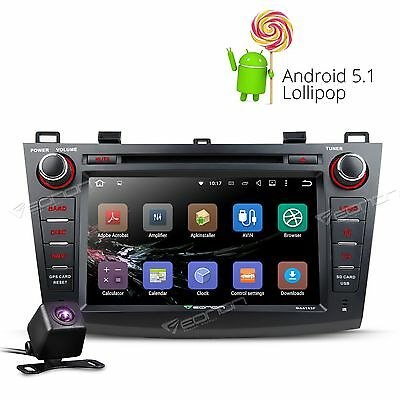 """Rear CAM 8"""" Android 5.1 E Car DVD Player GPS Bluetooth USB SD For Mazda 3 10-13"""
