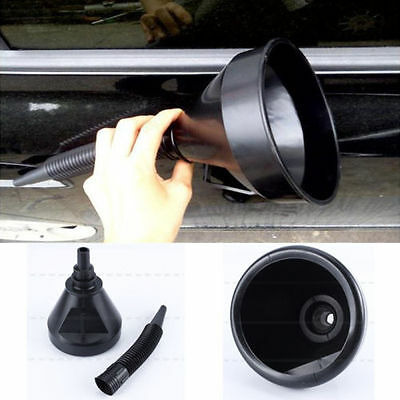 Black Auto Car Flexible Funnel Spout Mesh Screen Strainer Oil Fuel Petrol EB
