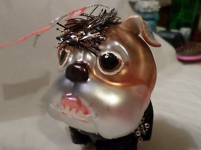 Bulldog Christmas Ornament Dressed Like Going Out On The Town Looks Like Mohawk