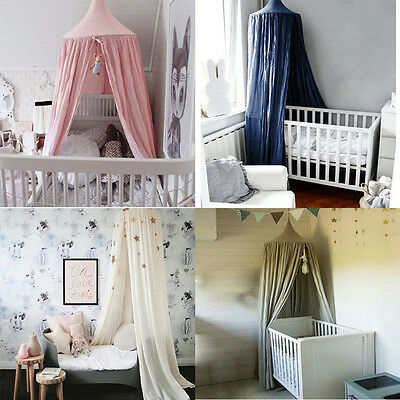 Round Dome Bed Canapy Mosquito Netting Princess Girl Children Cotton Bedcover EB