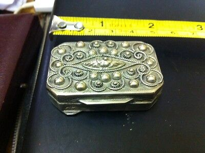 Solid 800 Silver Decorative Pill Box Free Uk Postage