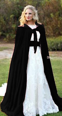 Black + black Cloak Gothic Wicca Robe Medieval Witchcraft Larp Cape