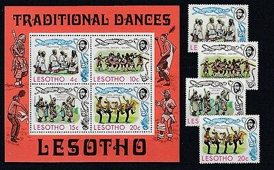 Lesotho  191 - 94 + Block 2  Traditionelle Tänze  **  (mnh)