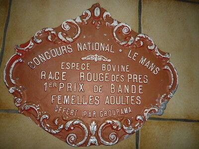 French Vintage Agriculture Plaque Trophy First National  Prize  Cow