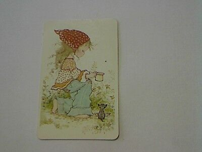 """1 Single Swap/Playing Card-Sarah Kay""""Unsigned""""Girl Giving Cat Milk (Blank Back)"""