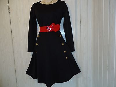 Black 1950S Style Rockabilly Military Style Swing Dress Gold Buttons Size 14