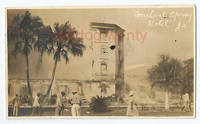 JAMAICA Myrtle Bank Constant Spring Hotel fire disaster RP postcard 1923