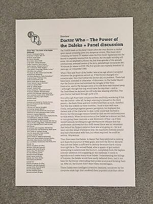 Official BFI Doctor (Dr) Who - The Power of the Daleks programme/press notes