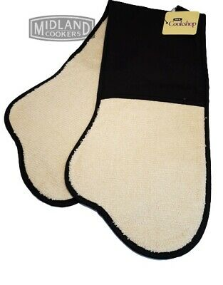 AGA Traditional Double Oven Glove Black and Cream