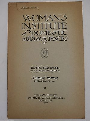 1922 Womans Institute of Domestic Arts & Sciences Book Tailored Pockets #15